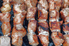 Pieces of meat grilled over charcoal. Barbecue on a skewer. Royalty Free Stock Images