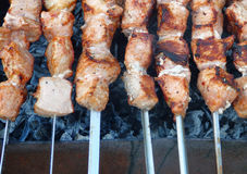 Pieces of meat grilled over charcoal. Barbecue on a skewer. Stock Photography