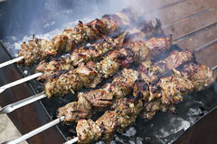 Pieces of meat roasted on a spit over charcoal Royalty Free Stock Photography