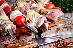 Pieces of meat on a skewer Stock Photo