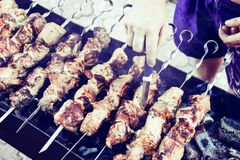 Pieces of meat on skewers fried on the grill stock image