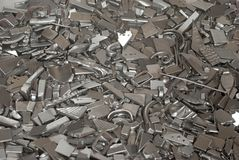 Pieces of metallic parts. Pieces of different metallic parts for recycling Royalty Free Stock Photos
