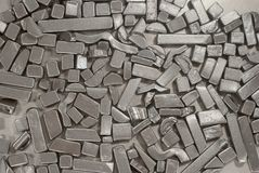 Pieces of metallic parts. Pieces of different metallic parts for recycling Stock Photo