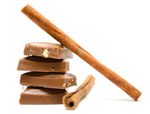 Pieces of milk chocolate with cinnamon Stock Images