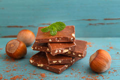 Pieces of milk chocolate with nuts Royalty Free Stock Photo