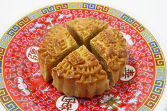 Pieces of Mooncake on Plate Royalty Free Stock Photography