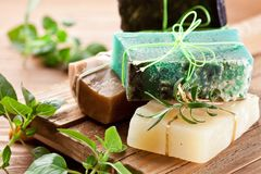 Pieces of natural soap. stock images