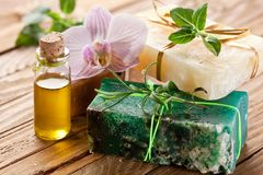 Pieces of natural soap. Royalty Free Stock Photo