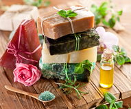 Pieces of natural soap. Royalty Free Stock Photography