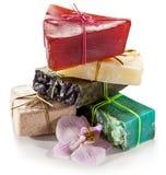 Pieces of natural soap. Stock Photos