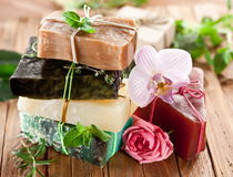 Pieces of natural soap. Royalty Free Stock Images