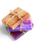Pieces of natural soap with herbs and flowers. Stock Image