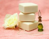 Pieces of natural soap with oil and rose Stock Image