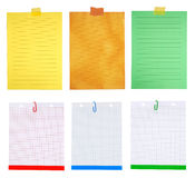 Pieces of notepaper. Colorful pieces of paper isolated on white background stock photos