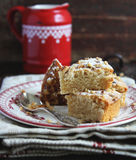 Pieces of nutmeg cake with icing sugar Stock Photography