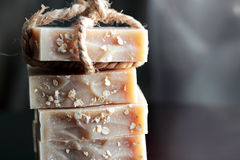 Pieces of oatmeal soap Stock Photography
