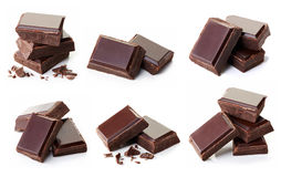 Pieces Of Dark Chocolate Stock Photos