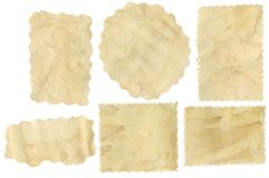 Pieces of old paper. Six pieces of old paper on white background royalty free illustration