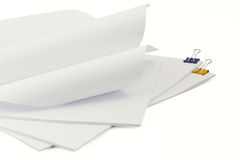 Pieces of paper and clips Stock Images