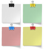 Pieces paper pinned binder clips Royalty Free Stock Image