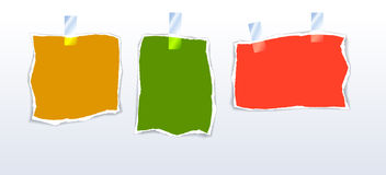 Pieces of paper. Set of color ripped pieces of paper Royalty Free Stock Photos