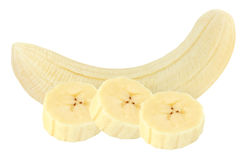 Pieces of peeled banana isolated on white with clipping path. Pieces of peeled banana isolated on white background with clipping path stock image