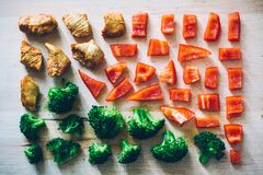 Pieces of pepper, broccoli and meat