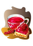 Pieces of pies and currant - illustration Royalty Free Stock Photo