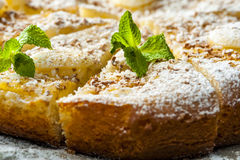 Pieces of pineapple pie with mint on baking paper Stock Photo