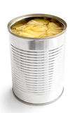 Pieces of pineapple in a tin isolated on white. Stock Photo