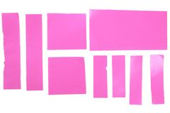 Pieces of Pink Papers Isolated on White Royalty Free Stock Photography