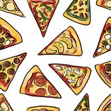 Pieces of pizza, seamless pattern for your design Royalty Free Stock Images