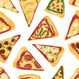 Pieces of pizza, seamless pattern for your design Royalty Free Stock Image