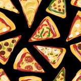 Pieces of pizza, seamless pattern for your design Stock Images
