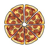 Pieces of pizza, sketch for your design. Vector illustration vector illustration