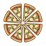 Pieces of pizza, sketch for your design Royalty Free Stock Image