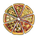 Pieces of pizza, sketch for your design. Vector illustration royalty free illustration