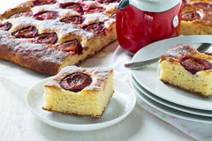 Pieces of plum cake Royalty Free Stock Photos