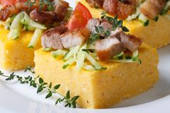 Pieces of polenta with bacon and vegetables macro horizontal Royalty Free Stock Images