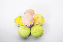 6 pieces of Polka dot cup cake on isolated background. 6 pieces of Polka-dot cup cake isolated background with green, yellow and red colors Stock Images