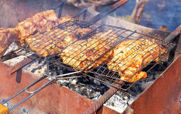 Pieces of pork meat on the grill. Stock Image