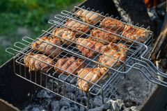 Pieces of pork roast on coals. In the grate Stock Images