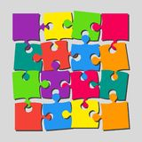 The 16 Pieces Puzzle Banner Jigsaw of Signboard. 16 Scattered Pieces Puzzle Rectangle Banner. Puzzle Signboard. Pieces Puzzles Background. Store Board Pieces vector illustration