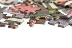 Pieces of puzzle isolated Stock Photos