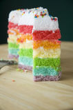 Pieces of rainbow cake Stock Photos