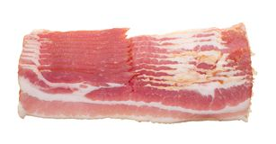 Pieces of raw bacon isolated Stock Photo