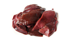 Raw liver isolated. Pieces of raw beef liver isolated Stock Photography