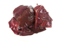 Raw liver isolated. Pieces of raw beef liver isolated Royalty Free Stock Images