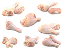 Pieces of raw chicken meat isolated Royalty Free Stock Photos