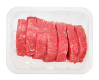 The pieces of raw fillet steaks in box Stock Photos